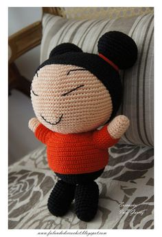 PUCCA DE CROCHE por Inez Garcez PASSO-A-PASSO: http://bichinhosdecroche.blogspot.com.br/2013/03/pucca-de-croche-receita.html