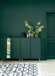 20 Coolest IKEA Ivar Cabinet Hacks To Try dark green Ivar cabinets with gold legs in front of a matching wall Ikea Ivar Cabinet, Ikea Cabinets, Art Deco Living Room, My Living Room, Homemade Furniture, Living Room Cabinets, Ikea Furniture, Furniture Ideas, Furniture Design