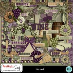 This kit is perfect for you! Wine Ring, Wine Tags, Decorative Borders, Digital Scrapbook Paper, Paint Shop, Photoshop Elements, Fall Harvest, Album, Fabric Flowers