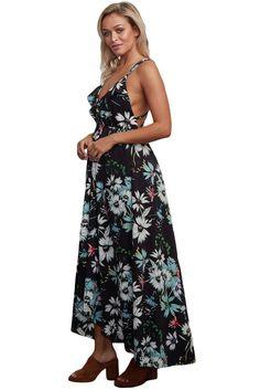 Black Criss-Cross Straps Backless Chiffon Floral Maxi Dress MB61476-2 – ModeShe.com