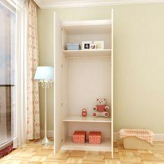 Открыктый детский шкаф с двумя дверьми с большими полками и вешалкой купить в онлайн-каталоге https://lafred.ru/catalog/catalog/detail/9403995168/