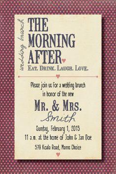 Morning After Wedding Brunch Invitation by BeeCatcherDesigns