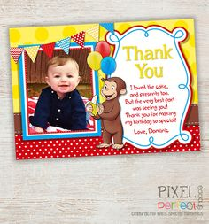 Curious George Thank You Card Curious George by PixelPerfectShoppe