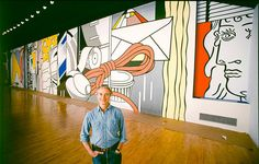 """Art That's Made Not to Last - The New York Times. Roy Lichtenstein and his """"Greene Street Mural"""" at the Castelli Gallery in 1983. The Gagosian Gallery will recreate the mural. Credit: Estate of Roy Lichtenstein, Bob Adelman and Gagosian Gallery"""