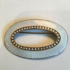 Gustav Gaudernack design for David-Andersen Sterling guilloché enamel brooch.