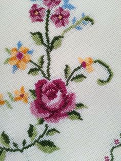 This Pin was discovered by Özl Cross Stitch Bookmarks, Cross Stitch Rose, Cross Stitch Borders, Cross Stitch Charts, Cross Stitch Patterns, Rose Embroidery, Cross Stitch Embroidery, Embroidery Designs, Bargello