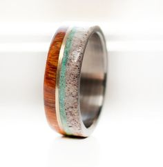 WOOD AND ANTLER RING WITH 10K GOLD AND TURQUOISE INLAY — STAGHEAD DESIGNS