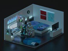 Gamer Bedroom, Bedroom Games, Bedroom Setup, Room Design Bedroom, Room Ideas Bedroom, Computer Gaming Room, Gaming Room Setup, Cool Gaming Setups, Gaming Rooms