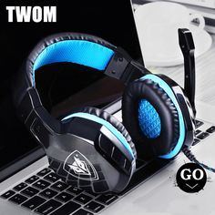 TWOM Computer Headband Gaming Headset with HD Microphone for PC Subwoofer Big Headphones Stereo Universal Wired Bass Earphones