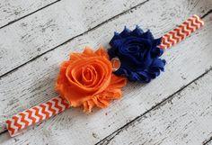 Orange and blue football baby headband, Florida Gators, UTSA headband, Broncos headband, Bears headband, Boise State headband, shabby chic by AshlynsAccessoryCo