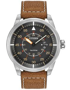 Handsome and trendy, the Avion offers that vintage look, without compromising modern technology. - Stainless steel with screw back case - Black dial with orange accents - Eco-Drive solar-power technol