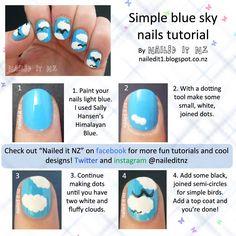 Nailed It NZ: Nail art for short nails #10 - Blue sky nails http://nailedit1.blogspot.co.nz/2013/02/nail-art-for-short-nails-10-blue-sky.html