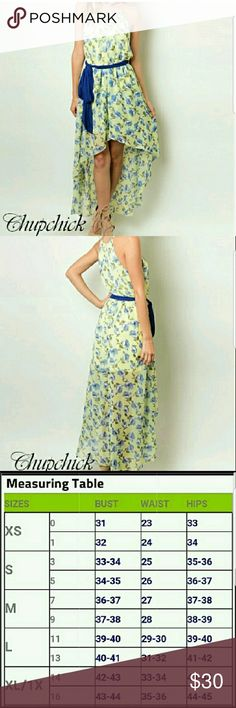 Floral high low dress High-low yellow and blue floral dress with a blue belt Chupchick Dresses High Low