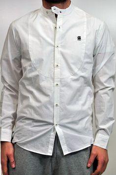 Camicia bianca G-star con colletto alla coreana