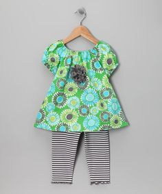 Take a look at this Green Daisy Peasant Tunic & Leggings - Toddler & Girls by SILLY MILLY on #zulily today!
