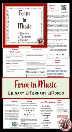FORM in MUSIC: Binary, Ternary and Rondo   This is an 18 page PDF file with: ♦️ Description and explanation, ♦️ Listening examples,  ♦️ Student review questions and ♦️ QR codes and clickable links leading to music examples.