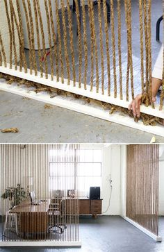 String thick rope from floor to ceiling. | 27 Ways To Maximize Space With Room Dividers Office DIY Decor, Office Decor, Office Ideas #DIY