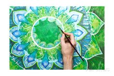 Man Painting Bright Green Picture With Circle Pattern, Mandala Of ...