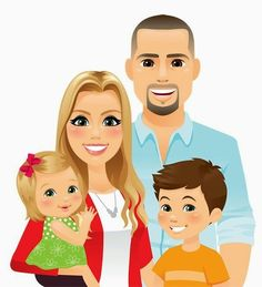 of an awesome Graphic Designer - Illustrator - Family Illustration, Portrait Illustration, Graphic Design Illustration, Cartoon Pics, Cute Cartoon, Family Clipart, Baby Clip Art, Children And Family, Happy Family