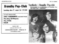 Copenhagen 7 Sept 1968 ad (evening show) First ever concert by the group, who are billed as The Yardbirds during this short tour of Scandinavia. Led Zeppelin Tour, Rock Music History, The Yardbirds, Live Set, Picture Albums, Tour Posters, Joy Division, Jimmy Page, New Bands