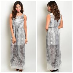 """MAKE AN OFFER Sleeveless chiffon maxi dress in grey features a round neckline, partial lining and abstract watercolor print all over. Absolutely gorgeous!!  L 56"""" B 16"""" W 12""""  100% Polyester.  Small:  2 Medium:  2 Large:  2 NO PAYPAL NO TRADES Price firm unless bundled.  All sales final.  CN245792 Dresses Maxi"""
