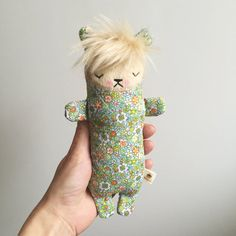 Meet the Sugarloaf Bears.  These sleepy little lovelies are a perfect size for small hands. Each bear has a unique, hand stitched face made by me