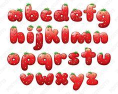 Strawberry Alphabet Font Clipart: Digital Download by foxynotts Граффити В Виде Алфавита, Алфавит Каллиграфия, Граффити Надписи, Стили Леттеринга, Альбом С Письмами, Искусство Леттеринга, Высокая Печать, Каллиграфия, Вышивка