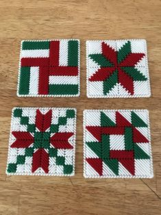 Coaster Set Festive Holiday Quilt Block Red and green image 3 Plastic Canvas Coasters, Plastic Canvas Stitches, Plastic Canvas Ornaments, Plastic Canvas Tissue Boxes, Plastic Canvas Christmas, Plastic Canvas Crafts, Free Plastic Canvas Patterns, Plastic Bags, Rustic Quilts
