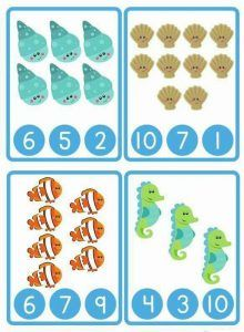 deniz hayvanları sayı kartı