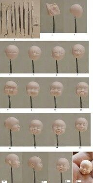 cool tutorial for sculpting polymer clay baby facesculpting dolls out of polymer clay (face) site not in English but too good to not pinתוצאת תמונה עבור how to make polymer clay facesgood site for polymer clay head making , but Polymer Clay Kunst, Polymer Clay Dolls, Polymer Clay Projects, Polymer Clay Creations, Polymer Clay Figures, Polymer Clay People, Sculpting Tutorials, Clay Tutorials, Clay Faces