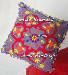 16'' Indian Cotton Embroidery Suzani Design Pom Pom Decor Cushion Pillow Cover p #AshuHandicraft #Ethnic
