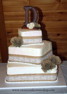 Square Vintage Burlap and Lace wedding cake
