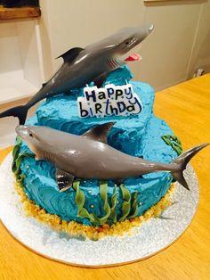 Homemade shark cake for my little girl's birthday. Buttercream icing and toy sharks. Shark Birthday Cakes, Birthday Party Snacks, Baby Birthday, Birthday Ideas, Shark Cake, Beach Cakes, Homemade Cakes, Party Cakes, Little Girl Cakes