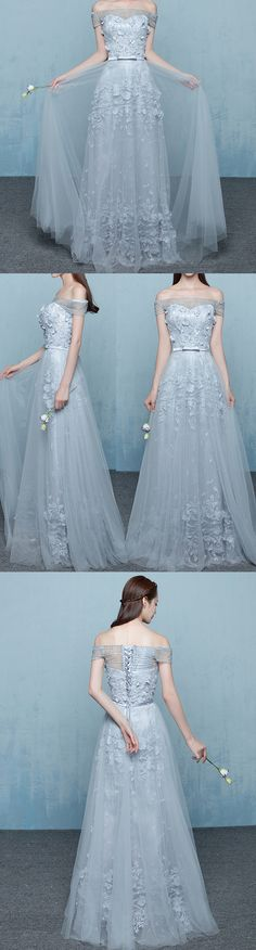 ELEGANT GREY OFF SHOULDER BEADING LACE APPLIQUES VINTAGE LACE UP A-LINE LONG PROM DRESSES. DB1028