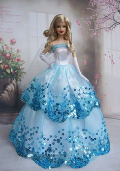 5pcs Free Shipping High Quality Barbie Doll's Party Dress Wedding Dress Barbie Clothes
