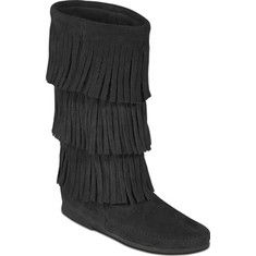 Calf hi boot made of soft suede with thin Crepe outsole and cushioned insoles.This boot features three layers of hanging strips of suede.