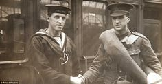 Till we meet again: Trooper A.H. OConner bids au revoir to his sailor brother at Waterloo station in 1915