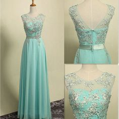 Floor Length Illusion Neck Chiffon Prom Gowns With Applique Pst0002 on Luulla