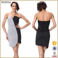 2016 Wholesale Contrast Color Sexy Woman Fashion Latest Party Dress Designs…