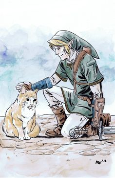 Link and cats pretty much my favorite thing in twilight princess playing with the cats