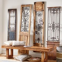 Our Vintage Gates artwork is crafted from generously distressed wood and metal. The rustic wooden frames and inset finials resemble found artifacts that are sure to complement most any decor. Vintage Doors, Antique Doors, Antique Metal, Wrought Iron Decor, Wrought Iron Gates, Mirror Wall Art, Iron Doors, Iron Wall, Wooden Doors