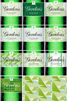 Limited Edition Special Labels for Gordon's Gin Green Bottles by Conran