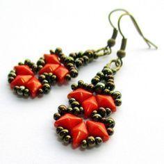 Free Beading Pattern: Flames Bracelet / Earrings Pattern by Růžena Mikulová featured in Bead-Patterns.com Newsletter