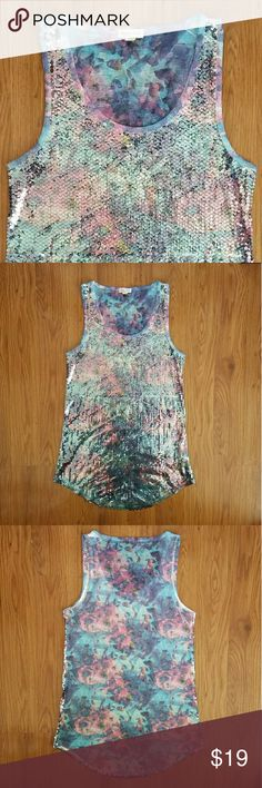 """silence + noise abstract floral pink and blue tank Beautiful shades of pink and blue in an abstract floral design. Sequins cover the entire front. A few random sequins missing here and there, but not noticeable while wearing. Otherwise excellent used condition. 32"""" bust. Urban Outfitters Tops Tank Tops"""