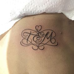 Tattoo - initials West 4 Tattoo #NYC #Tattoo #script https://www.instagram.com/west4tattoo/ Artist: https://www.instagram.com/mnsantanatattoo/