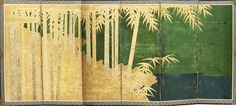 Six-fold paper screen, Hasegawa School, Japan, Edo period, 17th century. Painted in ink and color on a gold ground.