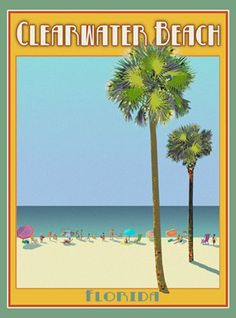 Clearwater Florida -Vintage Art Deco Style Travel Poster -by Aurelio Grisanty #ArtDeco