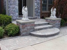 using cement and pavers in landscaping - Google Search 1 rounded front porch step