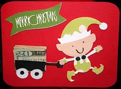 I made this fun Christmas card using my Cricut machine and the Jolly Holidays cartridge - I love to find ways to give money!