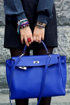 """hermes bag in perfect blue + classic with a twist of """"edge"""". the right accessories can work wonders"""